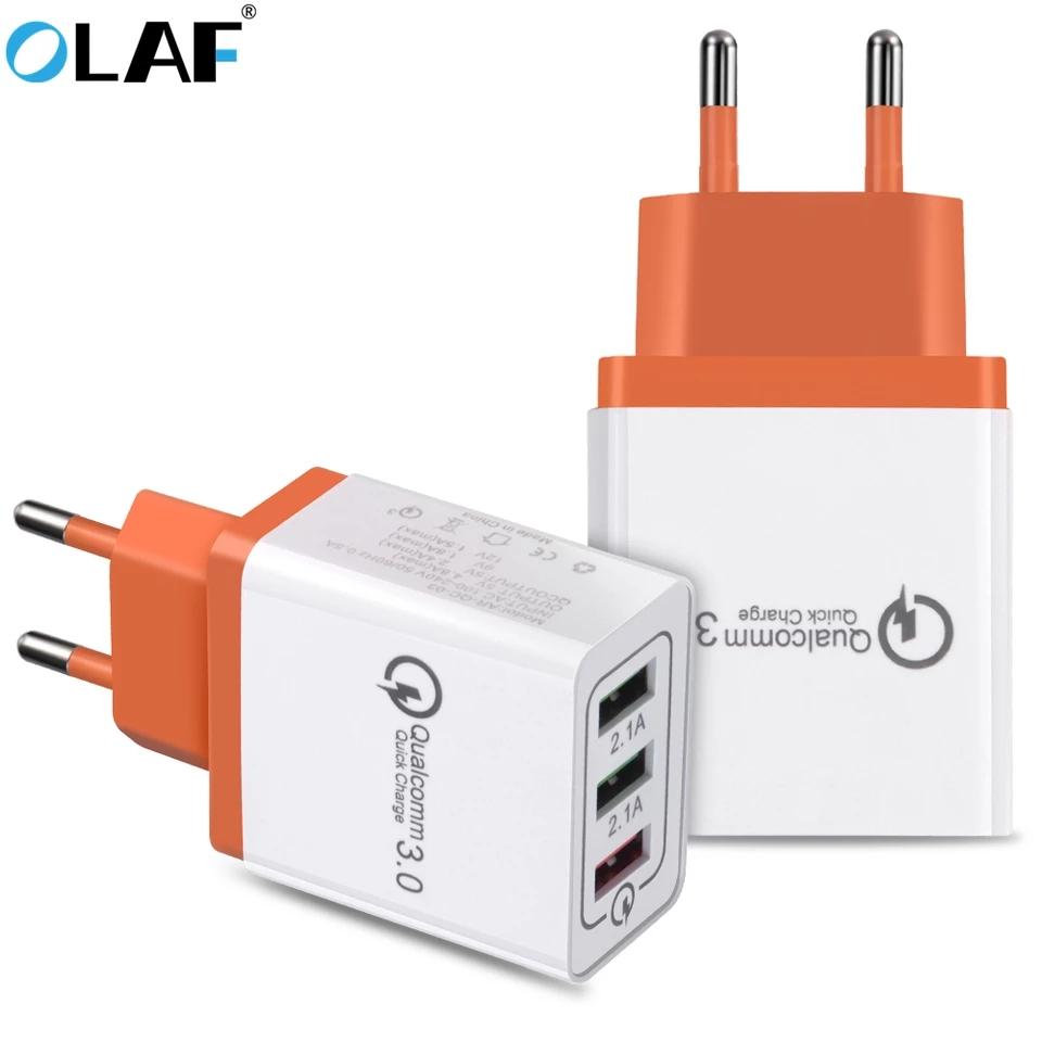 Chargeur USB Olaf - 3 Ports USB, 2 Ports 2.1A + 1 port QC 3.0