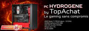 Tour PC Hydrogene By TopAchat (compatible VR) - AMD Ryzen 7 1700, RAM 16Go, 2To + SSD NVMe 250Go, GTX 1080 (Sans OS)
