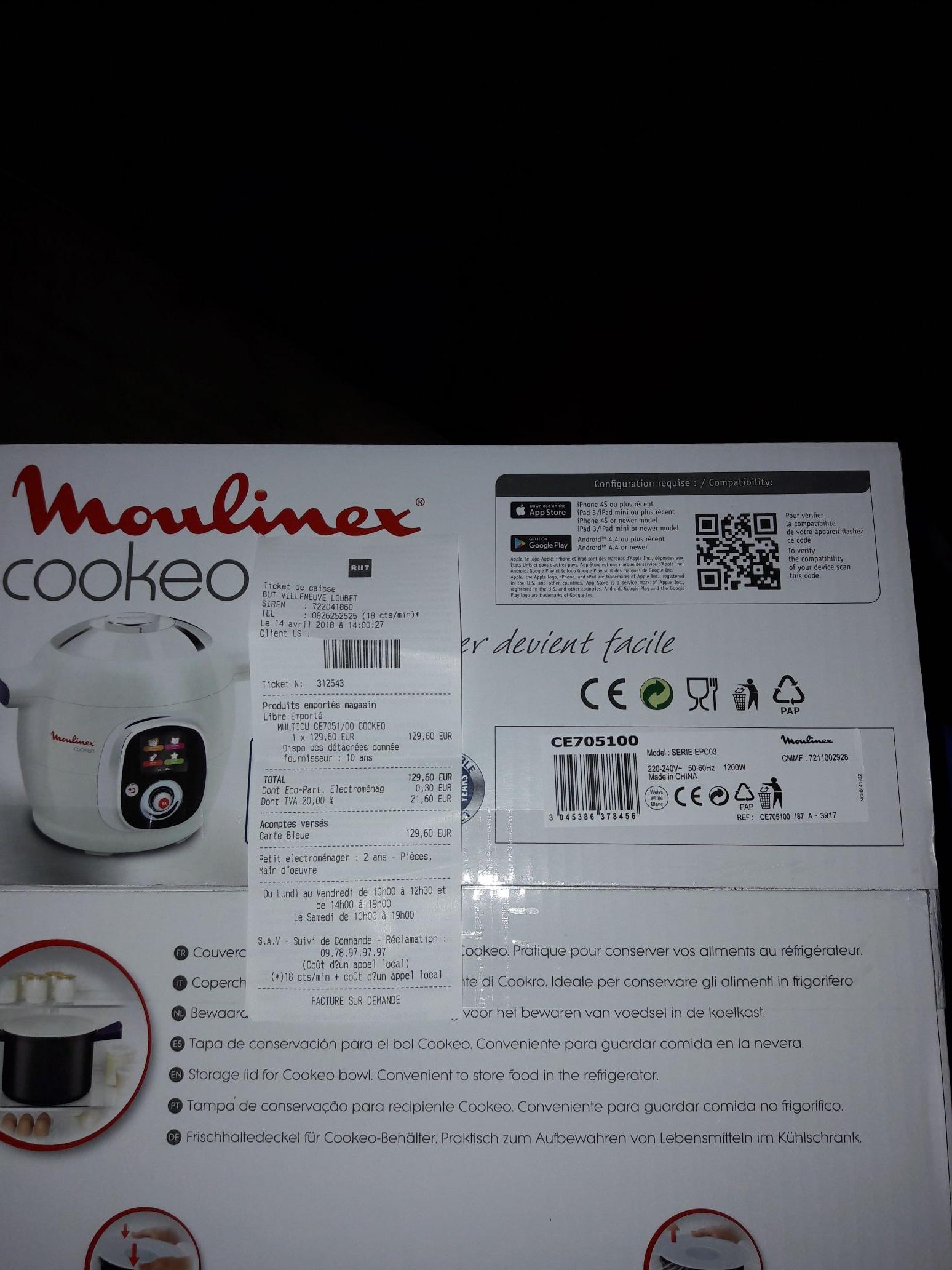 Mijoteur multicuiseur Moulinex Cookeo 705100 (Villeneuve-Loubet 06)