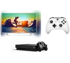 "TV 55"" Philips 55PUS6412 - 4K UHD, Smart TV, Ambilight + Console Microsoft Xbox One X 1To + 2ème Manette Blanche"