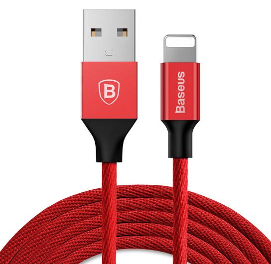 Câble Lightning Baseus 2A Data/Charge 1.2 m, tressé, Rouge