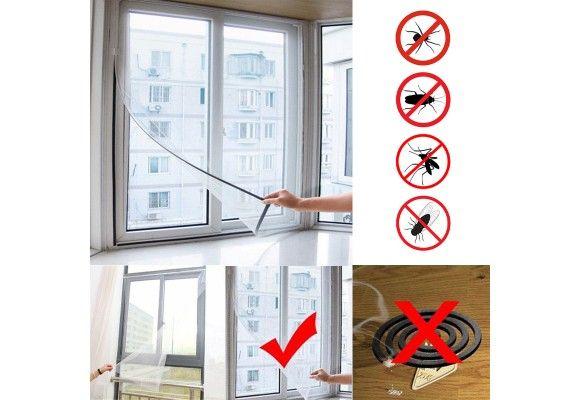 Moustiquaire pour fenêtre - 130 x 155 cm + bande adhésive Velcro (frais de port inclus)