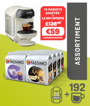 Assortiment de 12 Paquets de Capsules (Variétés Mixtes) - 12 x 16 + Machine à Café Tassimo Vivy T12 Offerte - Coloris au choix
