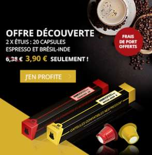 2 étuis de 10 capsules Espresso et Brésil-Inde compatibles Nespresso (frais de port inclus) - MonExpresso