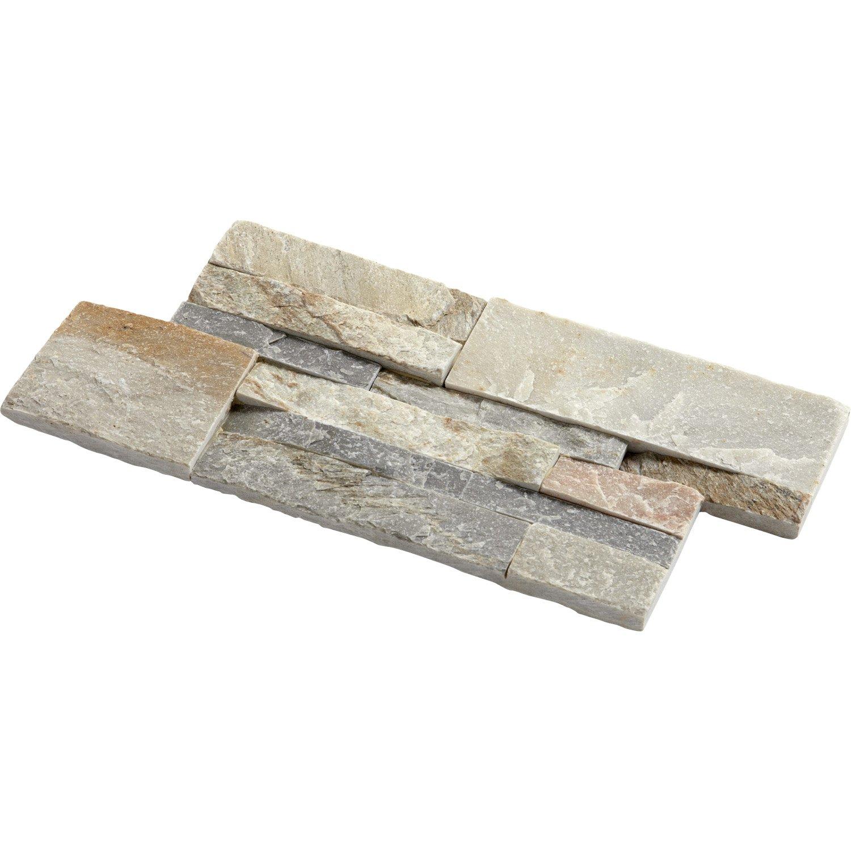 Plaquette de parement de pierre naturelle Elegance - Beige/gris, 35x18cm