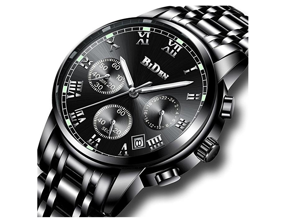 Montre Homme Chronographe en Acier Inoxydable - Quartz, Calendrier, Chronographe, Date, 3ATM (vendeur tiers)