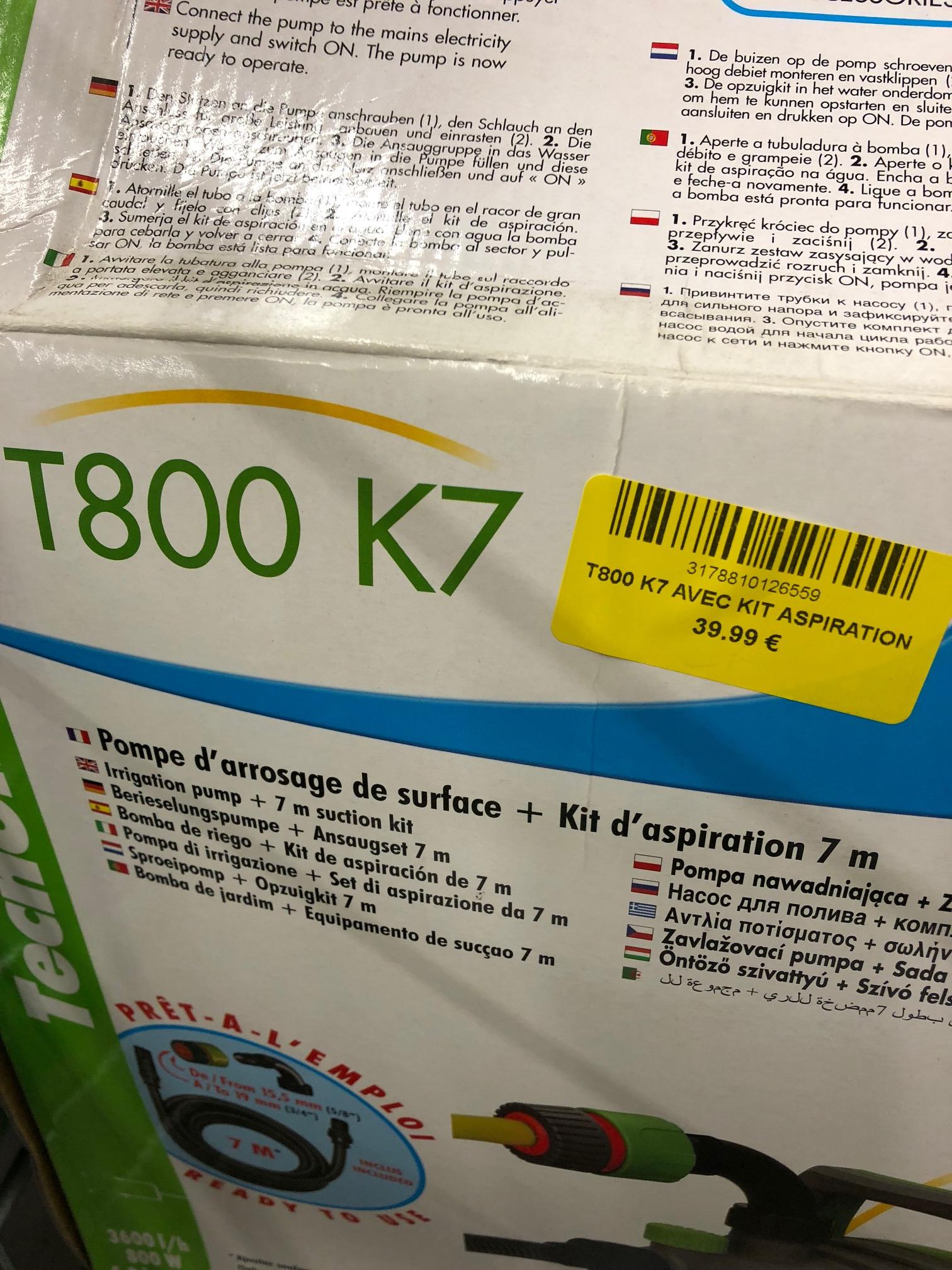 Pompe d'arrosage de Surface Technoma 12655 T800 K7 + Kit d'aspiration 7m - Maxplus Saint Alban (31)
