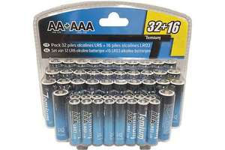 Pack de 48 piles Temium - 32 LR6 AA + 16 LR03 AAA