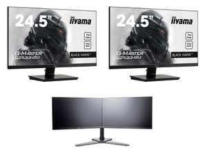 "Pack Dual Screen : 2 Ecrans PC 24.5"" IIyama G-Master G2530HSU-B1 (Full HD, Dalle TN, 75 Hz, 1 ms, FreeSync, Bords fins) + Pied de fixation double"