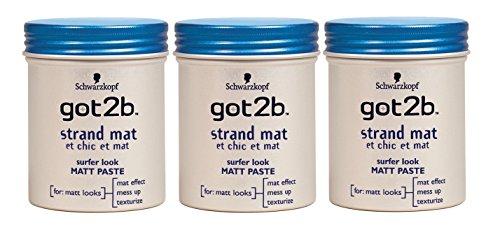 Lot de 3 Pots de Pâte Coiffante Got2b avec Chic/Mat Pot - 100 ml