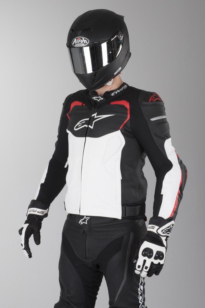 Veste en cuir Alpinestar GP Pro - Noir/Rouge/Blanc (Plusieurs tailles)