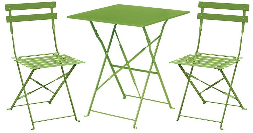 Salon de jardin: 1 table carrée et 2 chaises (Plusieurs coloris) - Arberi