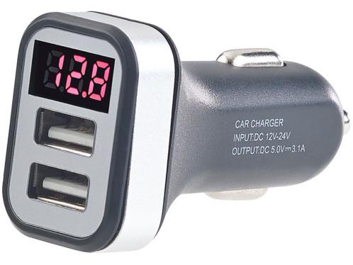 Chargeur USB 12V avec avertisseur de tension - 2x USB, 3,1 A