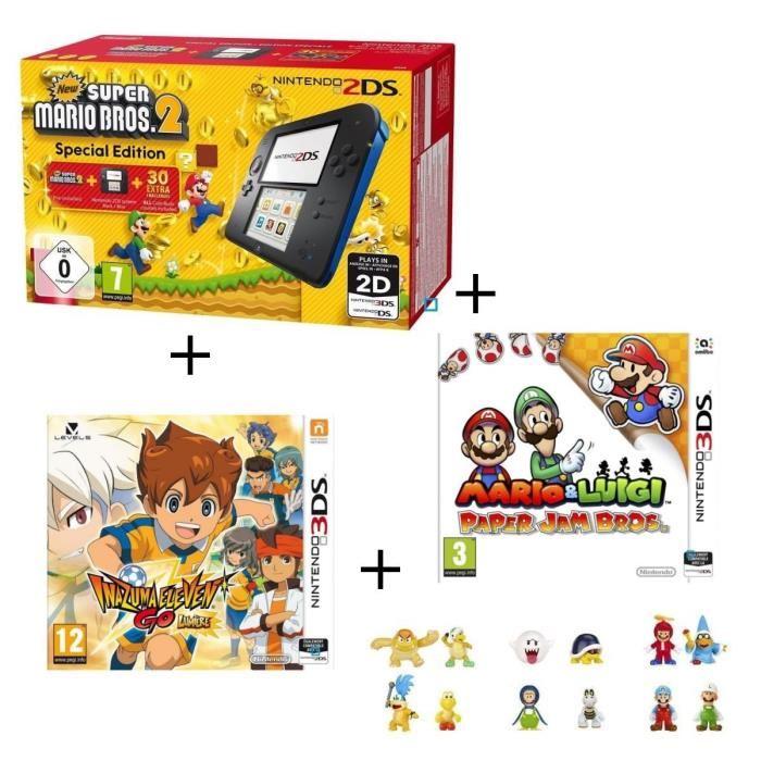 Console Nintendo 2DS (Bleu et Noir) + New Super Mario Bros 2 + Inazuma Eleven Go Lumière + Mario & Luigi Paper Jam 3 + 3 figurines aléatoires offertes