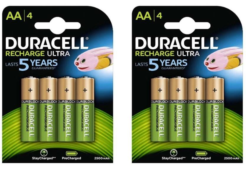 Lot de 2 packs de 4 piles rechargeables Duracell Recharge Ultra - 2500 mAh