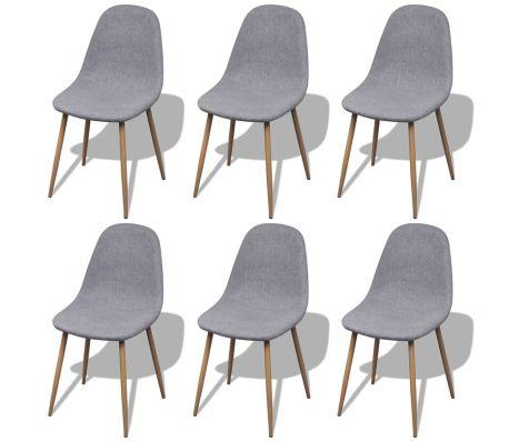 Lot de 6 Chaises design scandinave - Pied en fer, tissus, gris clair