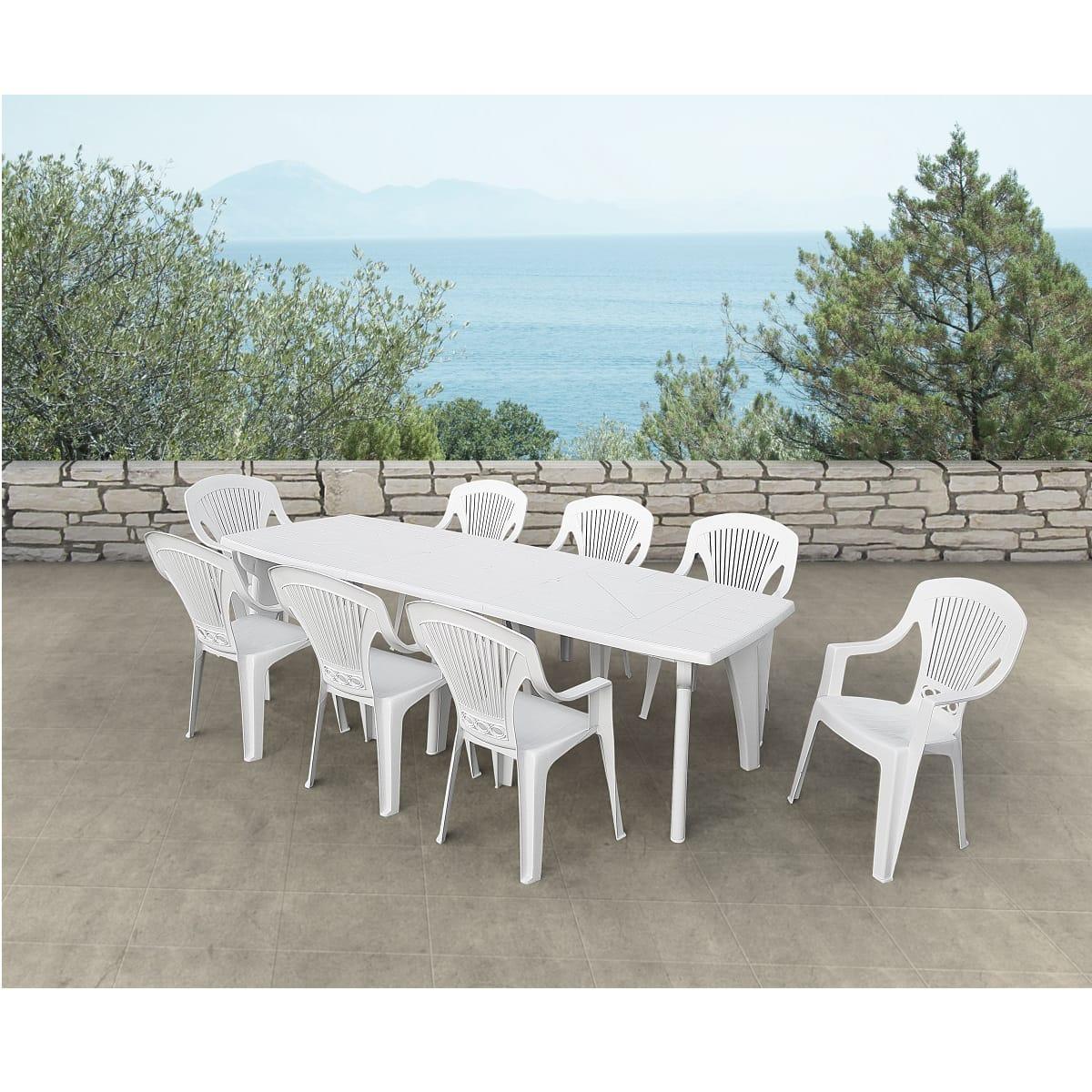 Salon de jardin LIpari 2 - résine blanc, 8 personnes