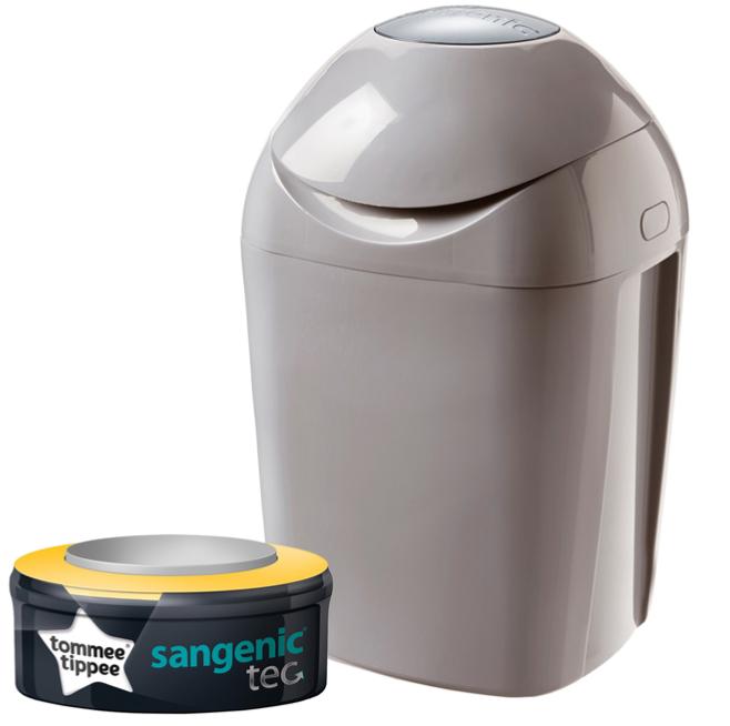 Poubelle couches sangenic tec taupe 1 recharge - Poubelle anti odeur couche ...