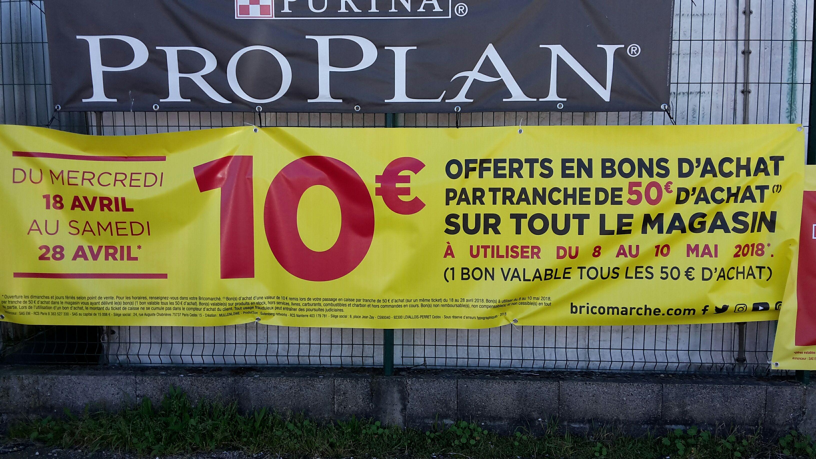 10€ offerts en bons d'achats par tranche de 50€