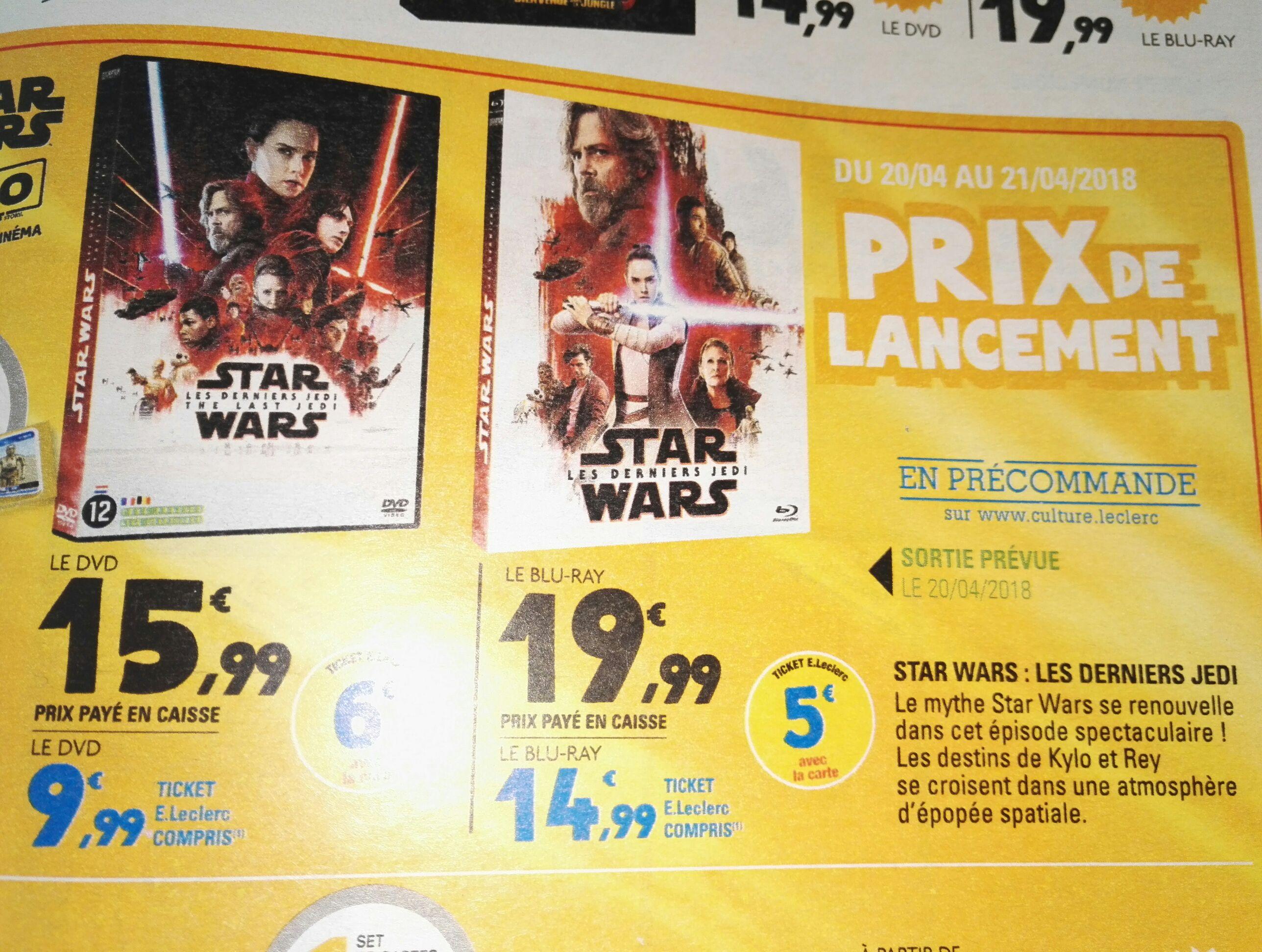 Blu-Ray Star Wars, épisode VIII : Les Derniers Jedi (via 5€ sur la carte fidélité)