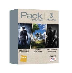 Pack Fnac 3 Jeux Aventure PS4 : Uncharted 4 A Thief's End + Horizon Zero Dawn + The Last Of Us Remastered