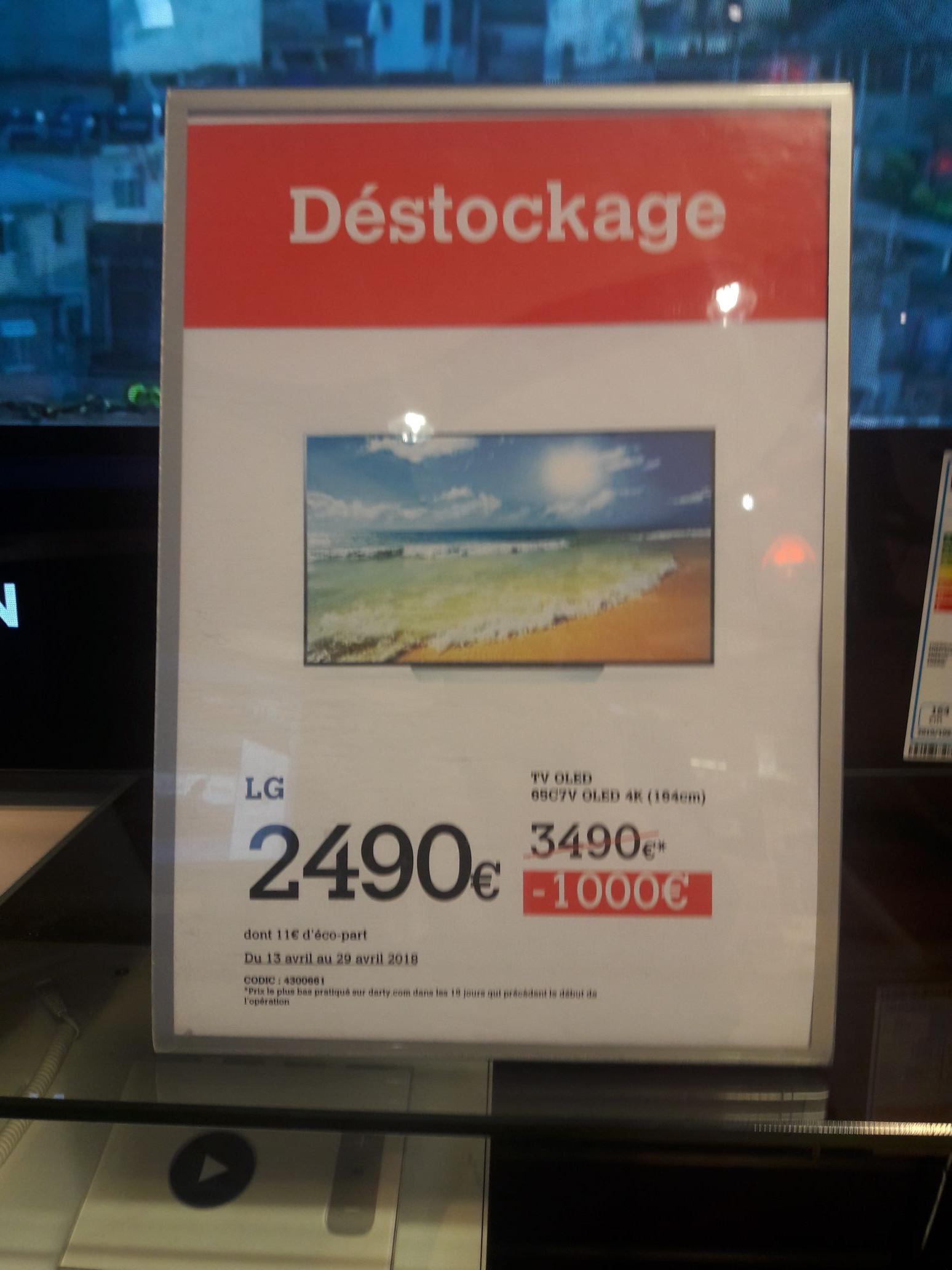 """TV 65"""" LG 65C7V - OLED, 4K UHD (Rungis 94)"""