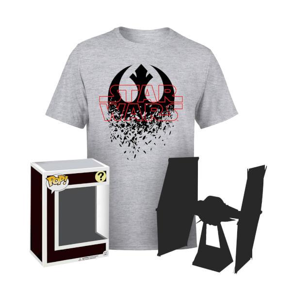 Précommande : T-shirt Emblème Abîmé Star Wars (taille au choix) + Figurine Funko Pop! Mystère + Cadeau Star Wars Mystère