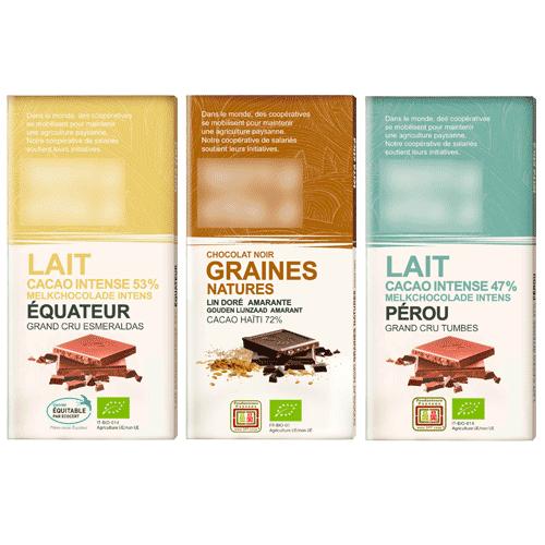Tablette de Chocolat bio - 100g, au choix