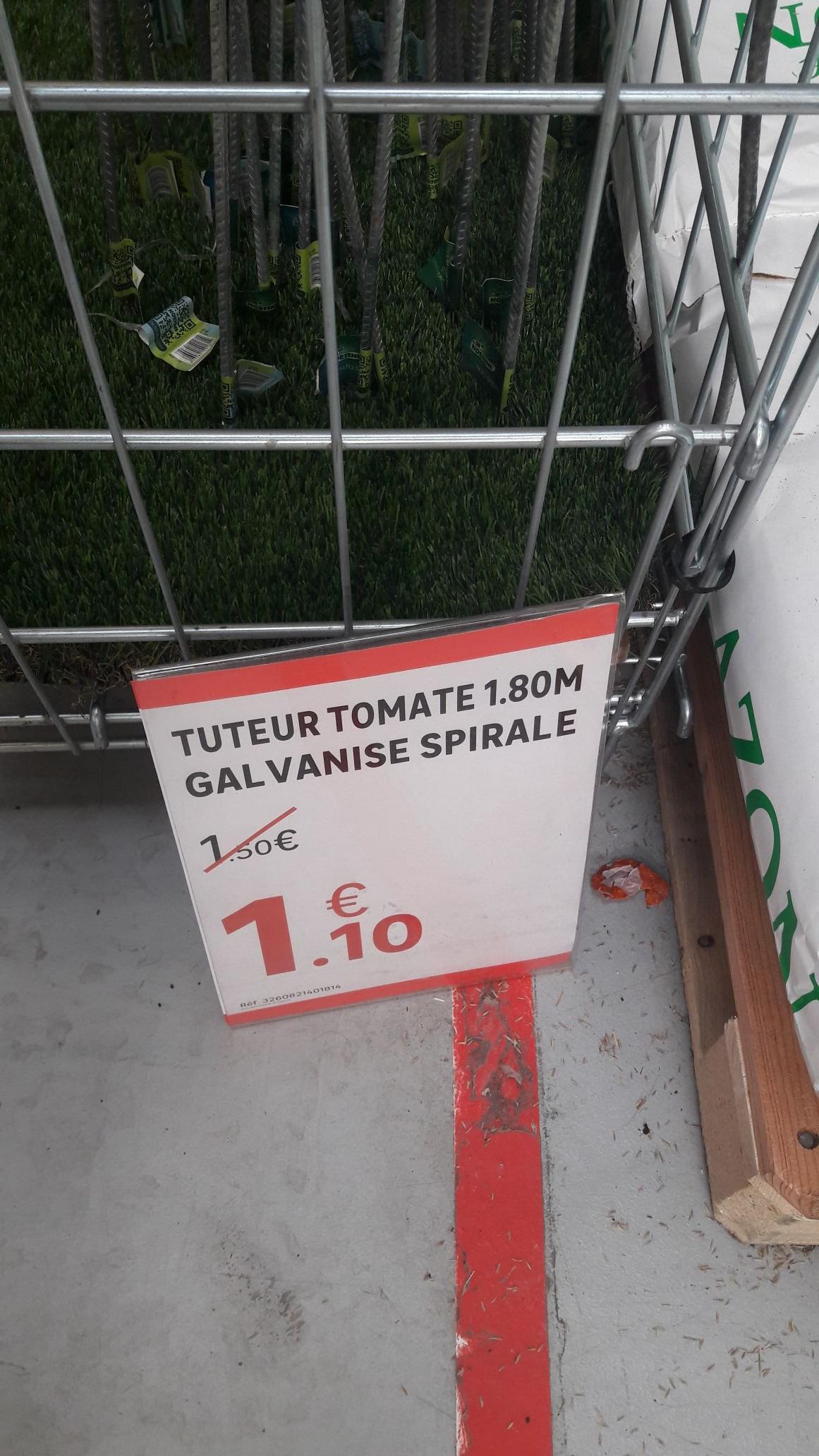 Tuteur tomate galvanisé spitale 1,8m - Leroy Merlin de Canejan (33)