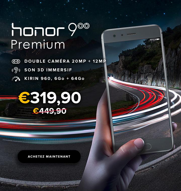 """Sélection de Smartphones Honor en Promotion - Ex: 5.15"""" Honor 9 Premium Gris (Full HD, RAM 6Go, 64Go)"""