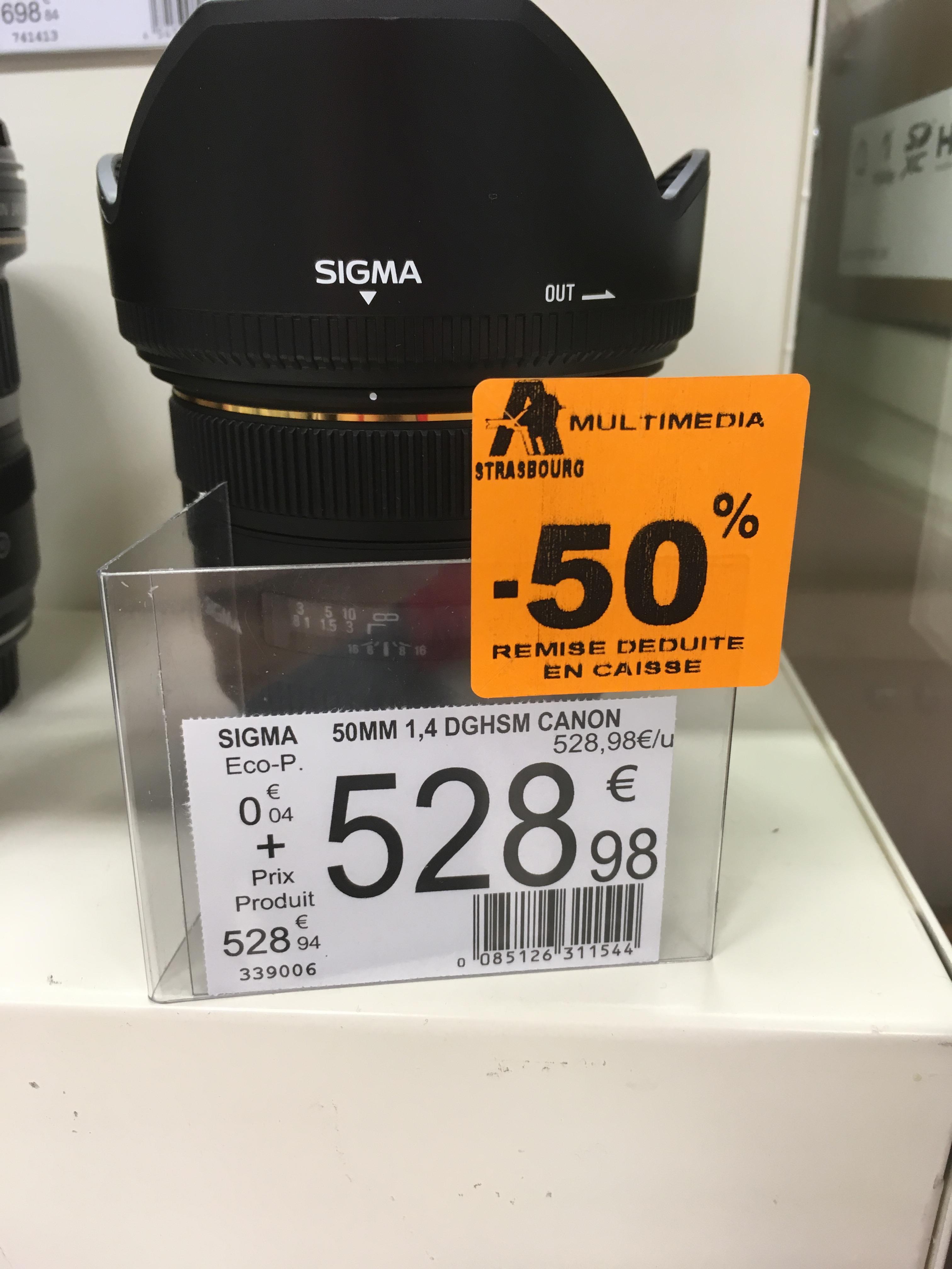 Sigma Objectif 50mm F1,4 EX DG HSM Monture Canon - Auchan Strasbourg (67)
