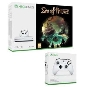 Pack Console Microsoft Xbox One S (1 To) Sea of Thieves + 2ème Manette Blanche