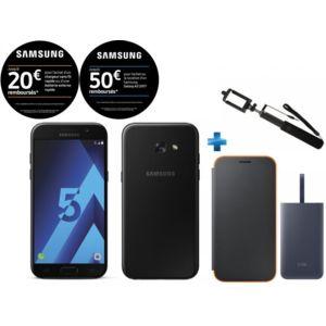 """Smartphone 5.2"""" Samsung Galaxy A5 2017 (Plusieurs coloris) + Perche + Batterie Fast Charge 5100 mAh + Coque Neon Flip (via ODR de 50€ + 20€)"""