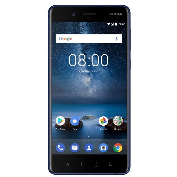 """Smartphone 5.3"""" Nokia 8 Bleu - écran quad HD, Snapdragon 835, RAM 4Go, 64Go, 3090mAh"""