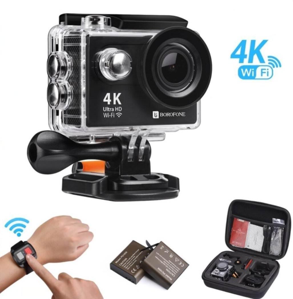 Camera sportive Borofone - 4K HD, Étanche à 40M, WiFi, 12MP avec 2 Batterie et accessoires (Vendeur tiers)