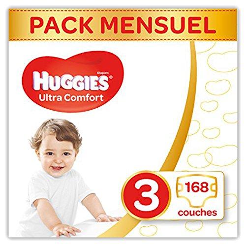 Pack de 168 Couches Bébé Unisexe - Ultra Confort - Huggies Taille 3, 4