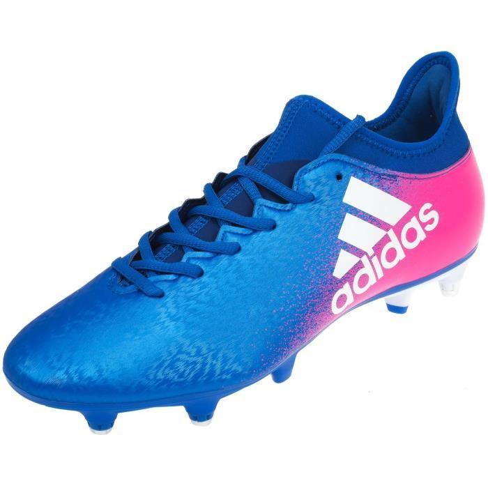 Chaussures de football adidas X 16.3 - crampons moulés - bleu et rose