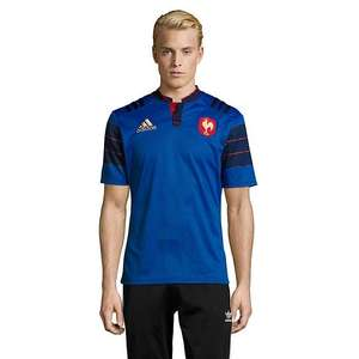Maillot de rugby FFR Adidas climate - Bleu/Noir