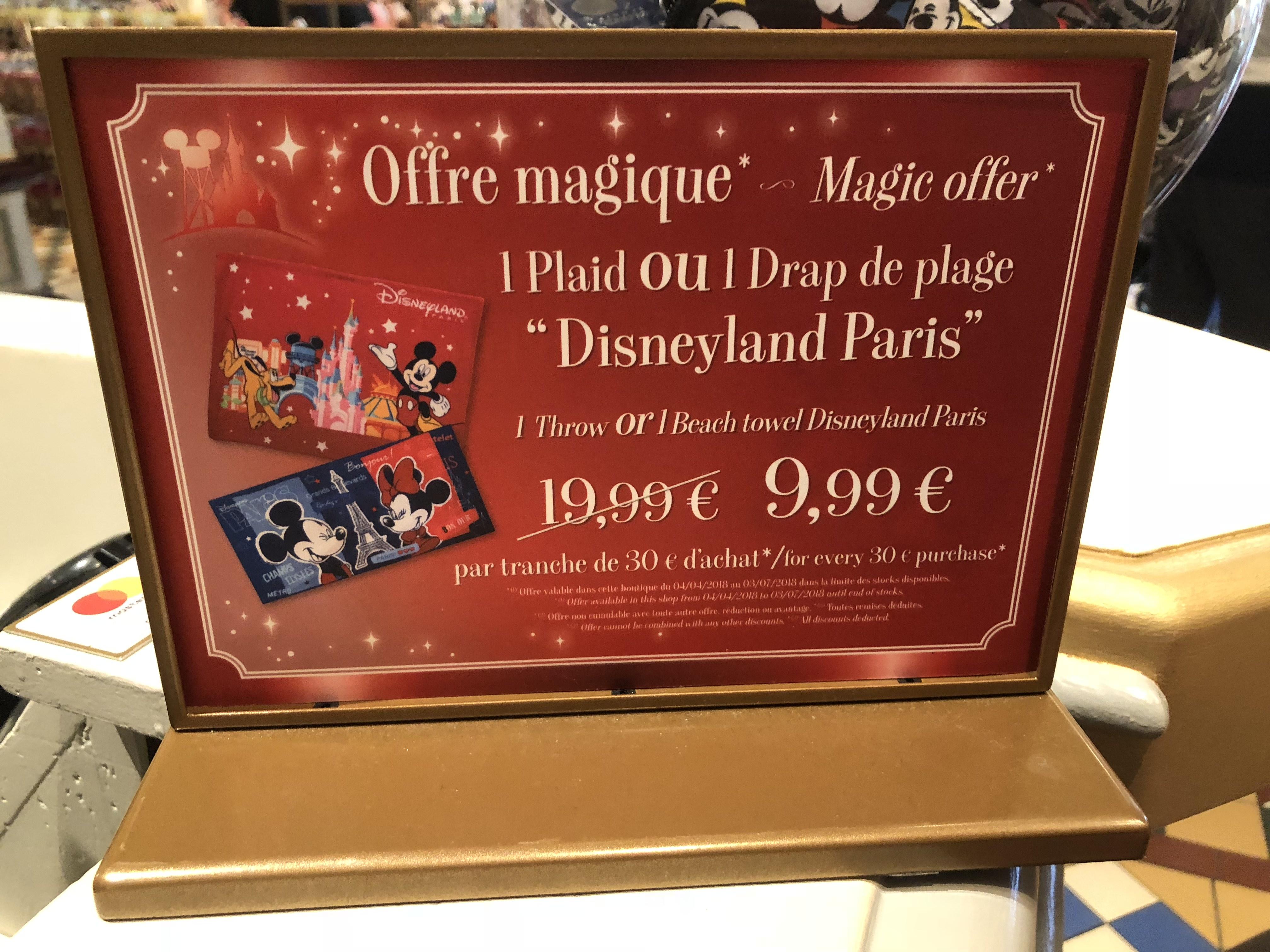 Plaid ou Drap de plage en promotion tous les 30€ d'achats (Plusieurs variétés) - Disneyland Paris (77)