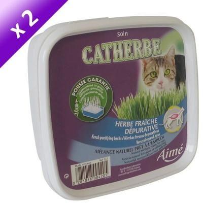 Lot de 2 Herbes Fraîches Dépuratives Aimé Catherbe pour Chats - 220g