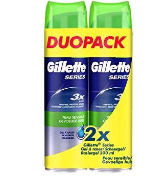 Lot de 2 Packs de 2 Gels à Raser Gillette Series (Plusieurs variétés)