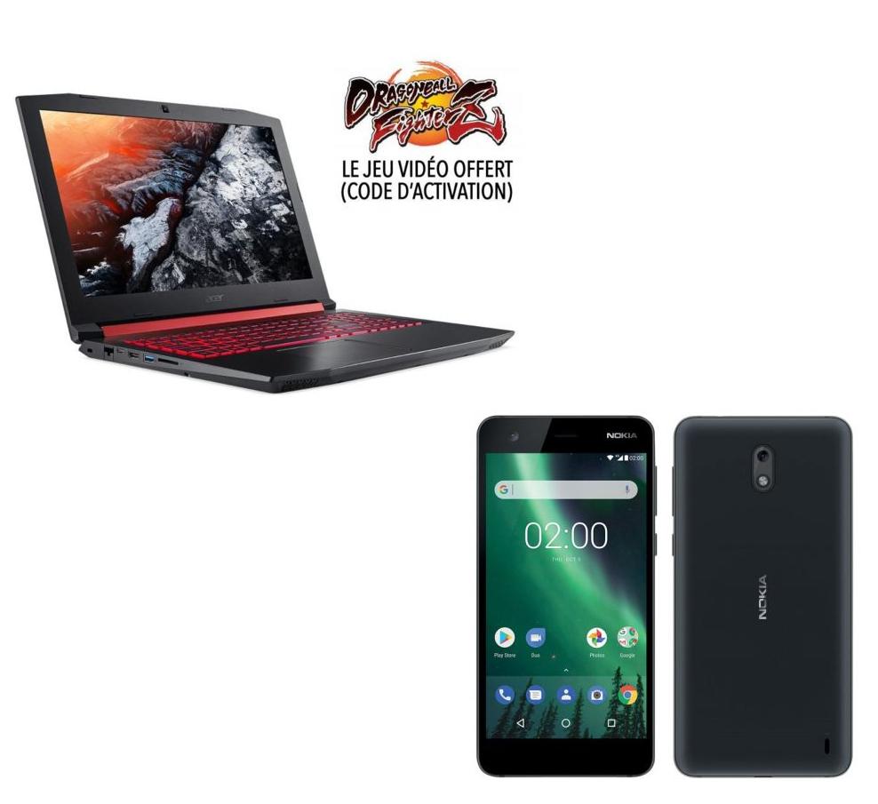 "PC Portable 15.6"" Acer Nitro 5 AN515-51-56G8 (Full HD, i5-7300HQ, HDD 1 To + SSD 128 Go, RAM 6 Go, GTX 1050 2 Go, Windows 10) + Dragon Ball FighterZ + Smartphone 5"" Nokia 2"