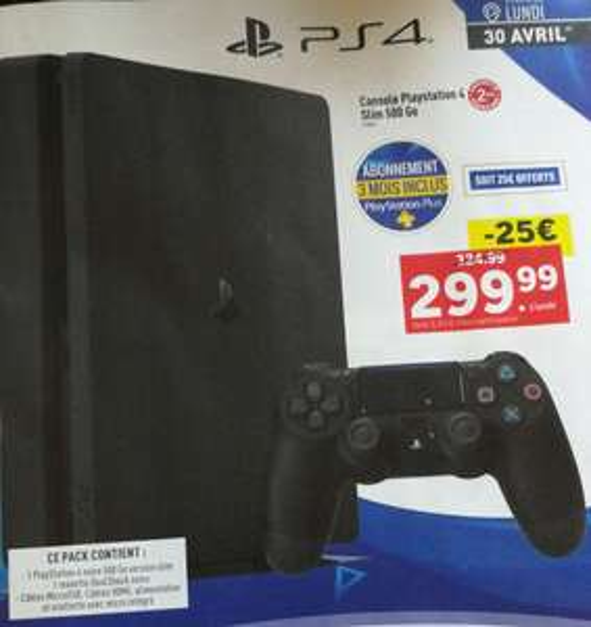 Console Sony PS4 Slim 500 Go + 3 mois d'abonnement au PlayStation Plus