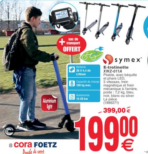 Trottinette Électrique E-Trotinette Symex XWZ-011A (Cora Foetz Luxembourg)