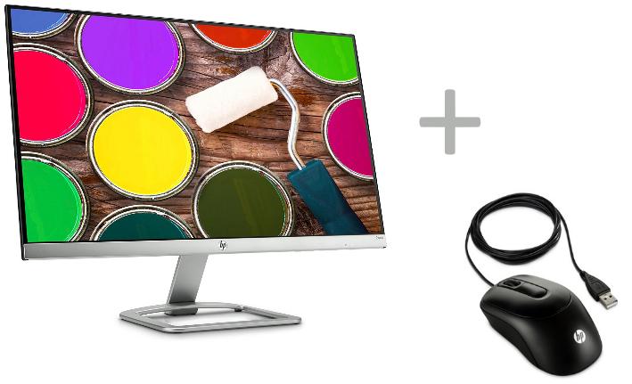 "Ecran PC 24"" HP 24EA - Full HD, Dalle IPS, Borderless, 7 ms + Souris filaire noire HP X900 (via ODR 30€)"