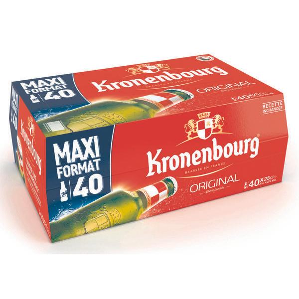 Pack de 40 Bières Blondes Kronenbourg - 40 x 25cl (Via 10.50€ sur la Carte de Fidélité)