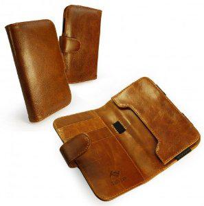 Etui/Portefeuille Vintage Tuff-Luv en cuir veritable pour Samsung Galaxy S2 S3 S4 - Marron