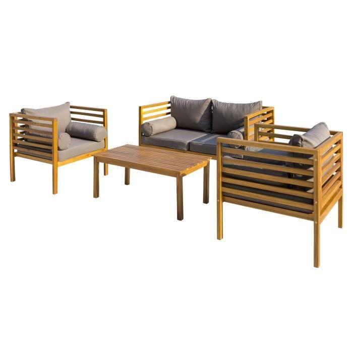 Salon de jardin 4 places - 1 table avec 1 canapé et 2 fauteuils - En ...