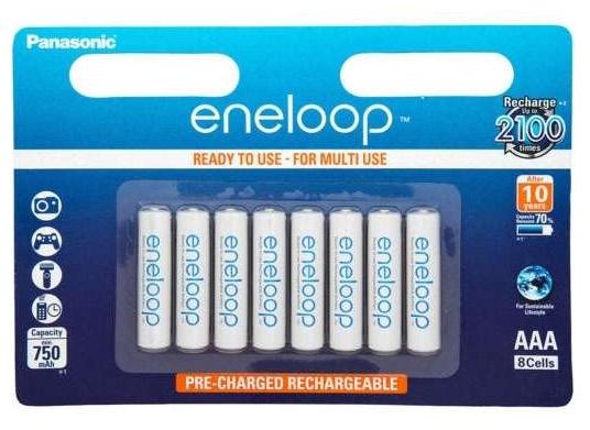 Lot de 8 piles rechargeables AAA Panasonic Eneloop - 800 mAh