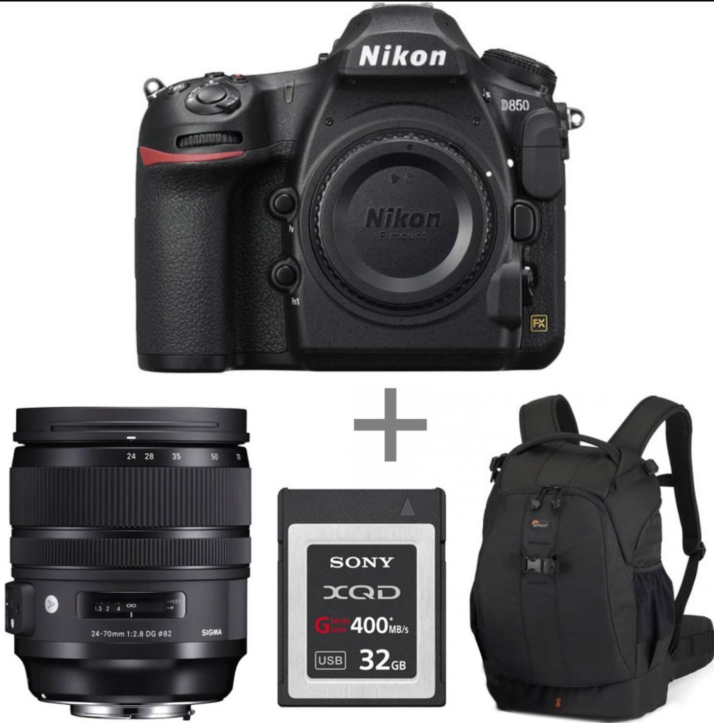 PAck Appareil photo reflex numérique Nikon D850 + objectif Sigma 24-70 mm F2.8 DG OS HSM Art + Carte Sony XQD 32 Go + sac à dos Lowepro Flipside 400 AW